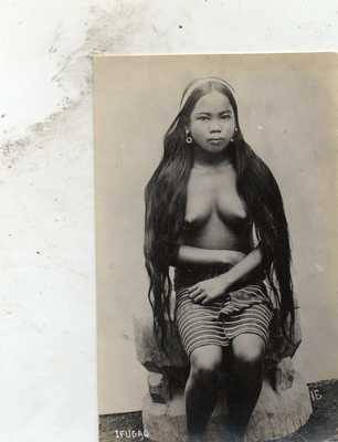 RPPC BARE BREASTED IFUGAO GIRL  PHILIPPINES  PHILIPPINE ISLANDS