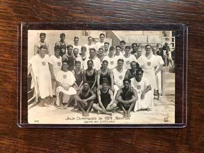 Hawaii DUKE KAHANAMOKU Johnny Weissmuller 1924 Olympics Swim Team Photo Postcard