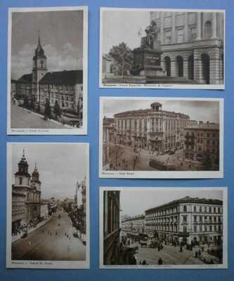 C1936 5 X VIEWS OF WARSAW, POLAND PC - HOTEL BRISTOL, STREET SCENES