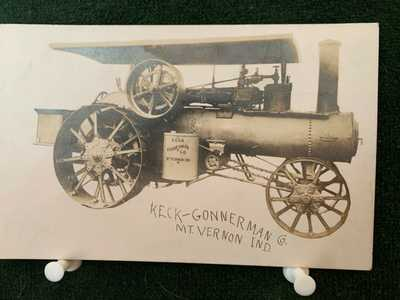 KECK - GONNERMAN PHOTO POSTCARD 1908  ENGINE  BACK SIGNED LOUIS KECK MT VERNON