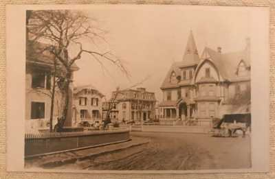 Vintage RPPC Real Photo Postcard Gates Corner Houses Horse Buggy People Derby CT