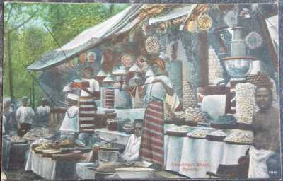 MALAYA MALAYSIA postcard - PENANG - 1919 Animated Sweetmeat BAZAR - Market TYPES