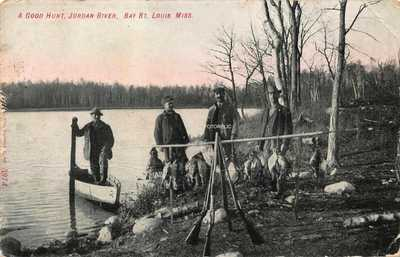 Bay St Louis Mississippi Early Card of Hunting on Jordan River - Posted 1908