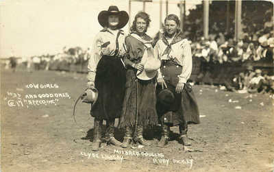 RPPC Cowgirls Mildred Douglas Ruby Dickey Clyde Lindsay Miles City MT #36 AFP CO