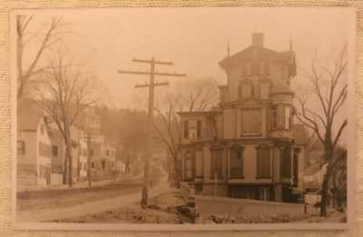 Vintage Antique RPPC Real Photo Postcard Derby Av & Commerce St Sawyer House CT