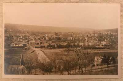 Vintage Antique RPPC Real Photo Postcard Derby CT from the Hill Vista Buildings