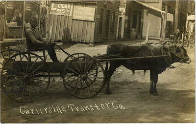 1910s RPPC Black Boy w/ Ox-drawn Dray Wagon ~ Cartersville Georgia Transfer Co.