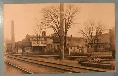 Antique Vintage RPPC Real Photo Postcard Steam Mill Derby Lumber Co CT RR Tracks