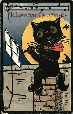 Halloween ~ black cat flute music stand musician chimney HM Rose c1910 postcard