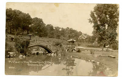 RPPC Japanese Garden Fabyan Estate Riverbank Geneva IL Villa Fox River Batavia