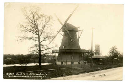 RPPC Fabyan Dutch Windmill Geneva Illinois Riverbank Estate Fox River Batavia
