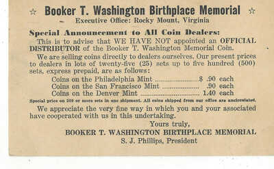 Black Americana Postcard Advertising for the Booker T. Washington Memorial Coin