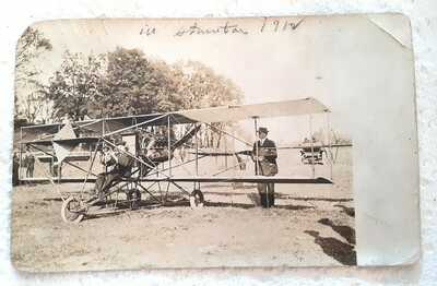 RARE Oct 26, 1912 Photo Postcard of First Airplane in Staunton,VA