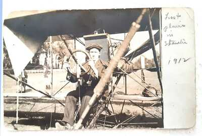 RARE Oct 26, 1912 Photo Postcard of First Airplane in Staunton,VA (2)