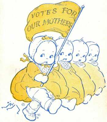 1915 Rose O'Neill Kewpies Women's Suffrage Movement Postcard Votes For Mothers
