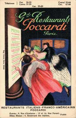 Leonetto Cappiello - Restaurants Poccardi Paris Advertising Postcard - 04.12