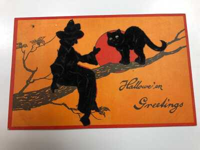 RARE Vintage Black Felt Witch Cat Add On Halloween Postcard-by Sam Gabriel