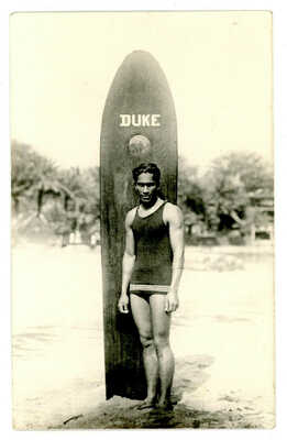 DUKE KAHANNAMOKU PHOTO POST CARD, SURFER