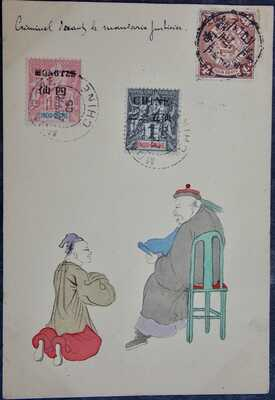 1905 HAND PAINTED Stationery postcard CHINA - Criminal and MANDARIN judge CANCEL