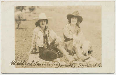 rppc RODEO COWGIRLS Mildred Hinkle & Dorothy Morrell Vintage real Photo Postcard
