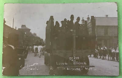 Liverpool Strike Postcard Police In Armoured Mot Carbonora No 52