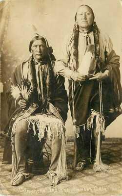 Vintage RPPC Postcard Comanche Indian Men, Lawton OK, Bates Photo Portrait