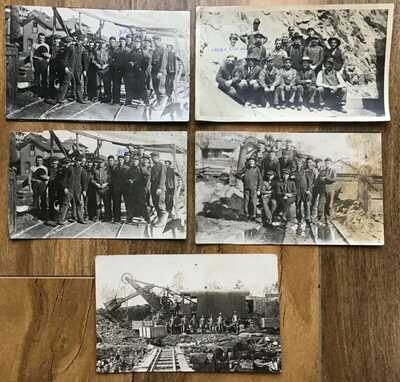 Antique Photograph & 4 Real Photo Postcards lot Mining mine South Dakota 1912
