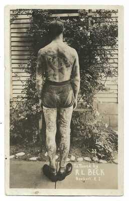 1920s Tattoo RPPC Tattooed Man - R.L. Beck Newport Rhode Island