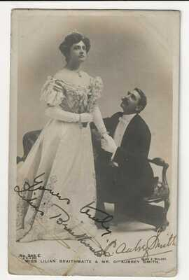 C. Aubrey Smith + Lilian Braithwaite Genuine Signed Beagles RP Postcard 1905