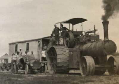 RPPC SCOTT CITY KS Kansas Farming Farm 1914 Antique Steam Tractor photo postcard