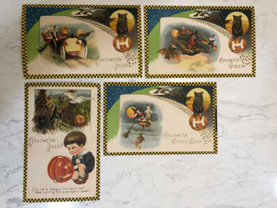 Winsch Freixas Schmucker Checkered Halloween Postcard Set