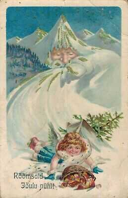 Christmas Fantasy Santa Claus Postcard As a Mountain With Angel Surrealism 06.17