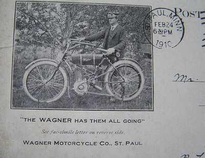 VTG 1910 LITHO POSTCARD-WAGNER MOTORCYCLE CO. ST PAUL, MINN.POSTMANS MOTORCYCLE