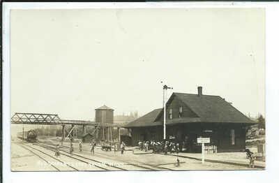Vader WA Washington RPPC Postcard Crowd at Train Depot Waiting on Coming train