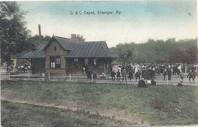 ERLANGER, KY: CINCINNATI: 1908: VIEW OF THE Q. and C. RAILROAD DEPOT