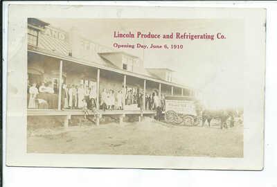 Twin Falls ID Idaho RPPC Postcard Horse Drawn Ice Wagon Ad for Lincoln Produce