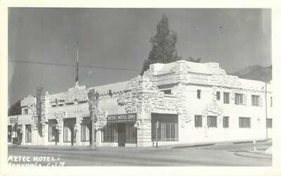 c1940 RPPC Monrovia, CA:  Aztec Hotel