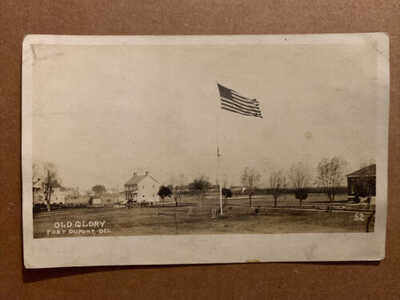 Fort Dupont Delaware Military Old Glory Real Photo Vintage Postcard RPPC