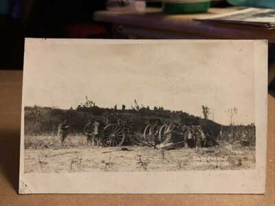 Fort Dupont Delaware Military Siege Guns Drill Real Photo Vintage Postcard RPPC