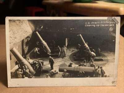 1000 Lb Mortar Shells US Coast Artillery Delaware RPPC