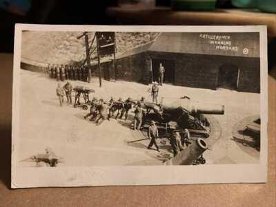 Artillerymen Manning Mortars US Coast Artillery Delaware RPPC