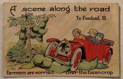 Foosland, Illinois, Scene Along the Road, 1916 Post Card