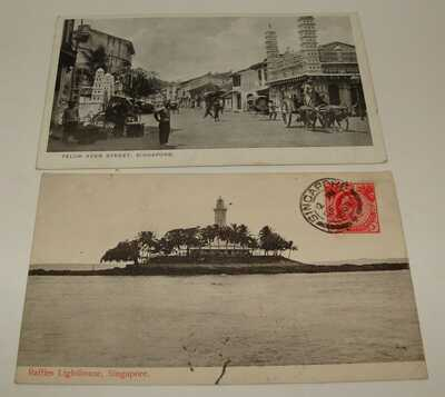 1910 Singapore Photo Postcard Raffles Lighthouse Telok Ayer Straits Settlements