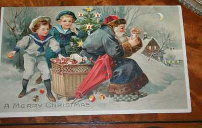 w/cutouts Santa with pipe w/sailor boys VINTAGE early 1900's MUST SEE