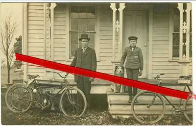 1909 RPPC RARE RELAINCE MOTORCYCLE W OWNER, WESTERN UNION BOY IN UNIFORM, & DOG