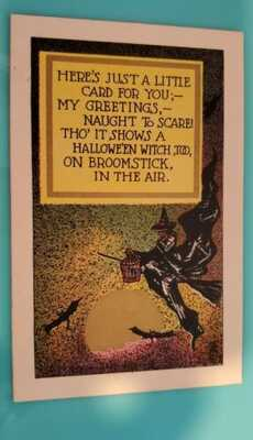 Rare National Art Halloween Postcard Of Flying Witch And Bats
