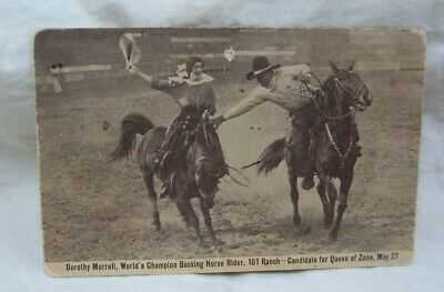 1900's 101 Ranch Dorothy Morrell Bucking Horse Rider Postcard