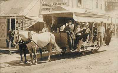 Block Island RI Horse Drawn Trolley At Photographic Store Real Photo Postcard