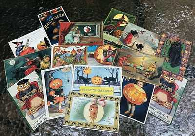 15 Vintage Halloween Postcards Tucks Clapsaddle Whitney All Original - No Repros