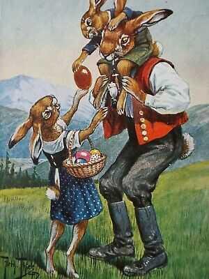 A) Rare signed Arthur Thiele 1912 Dressed Rabbit family TSN Easter Germany